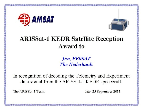 ARISSat-1 KEDR Award Decoding Telemetry
