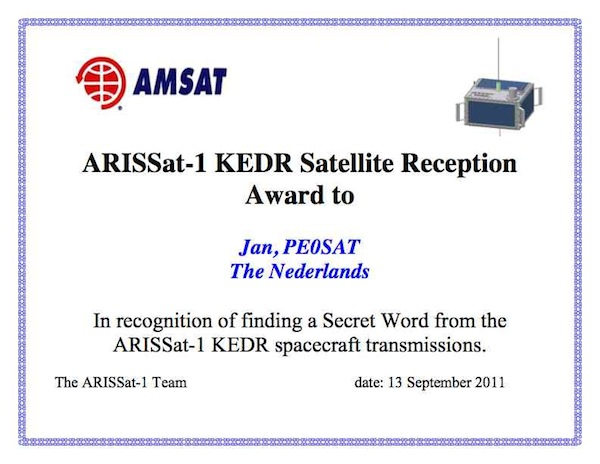 ARISSat-1 KEDR Award Secret Word