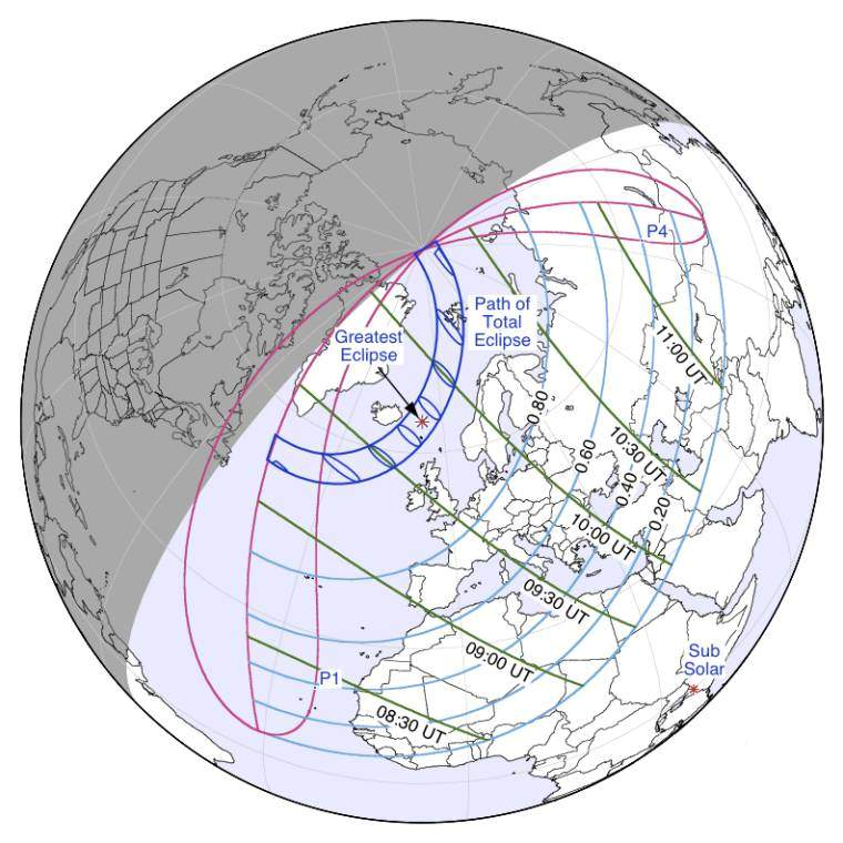 Solar Eclipse path 20-03-2015